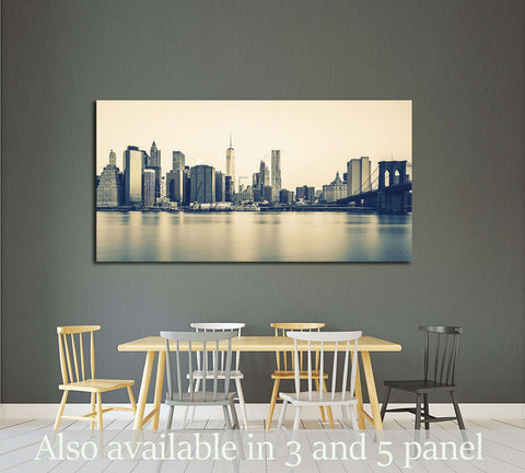 Panoramic view of New York City Manhattan №3000 Ready to Hang Canvas Print