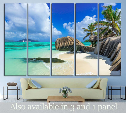 Paradise beach of Seychelles - La Digue - Anse Source d'Argent №3134 Ready to Hang Canvas Print