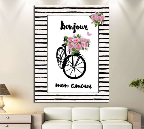 Paris, France, bicycle, flowers №4598 Ready to Hang Canvas Print