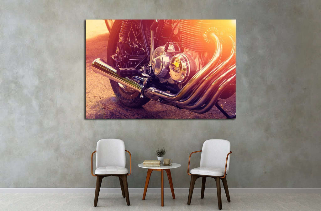 Part of the motorcycle. Close up. Soft lighting effect №1883 Ready to Hang Canvas Print