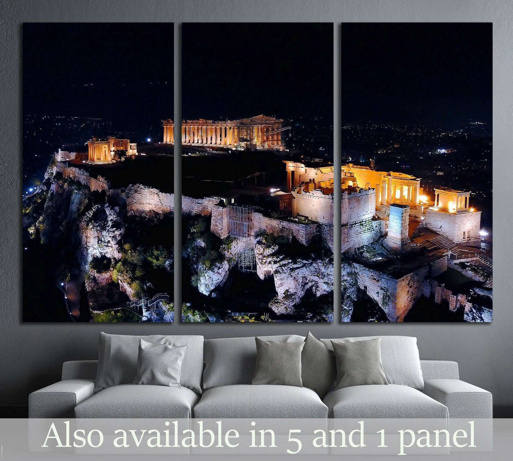 Parthenon, Propylaia in Acropolis hill, Athens historic center, Greece №2095 Ready to Hang Canvas Print