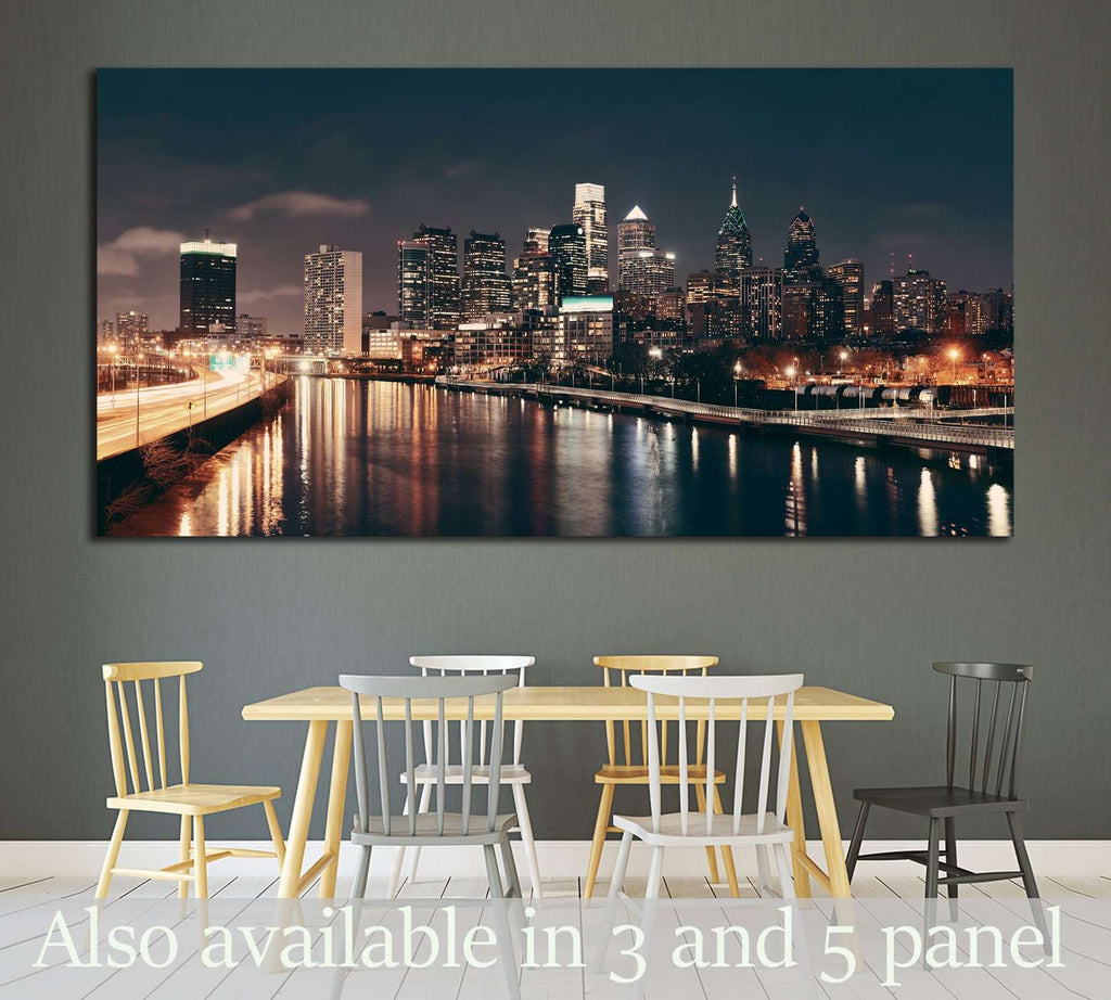 Philadelphia skyline at night with urban architecture №2030 Ready to Hang Canvas Print
