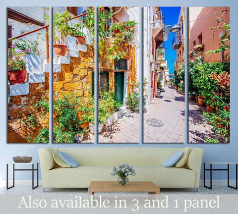 Pictoresque mediterranean street with stairs and flower pots, Chania, island of Crete, Greece №3053 Ready to Hang Canvas Print