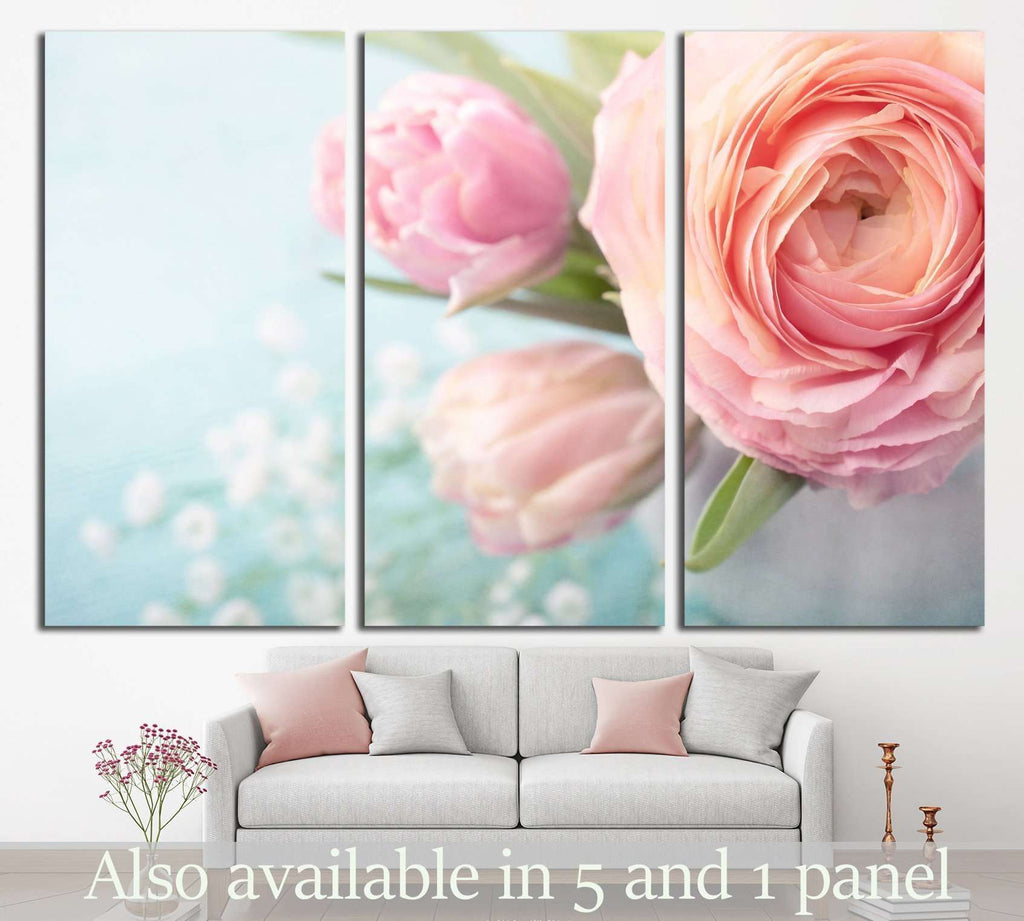 Pink flowers in a vase №1335 Ready to Hang Canvas Print
