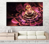 Pink fractal flower with golden glittering pollen №1422 Ready to Hang Canvas Print