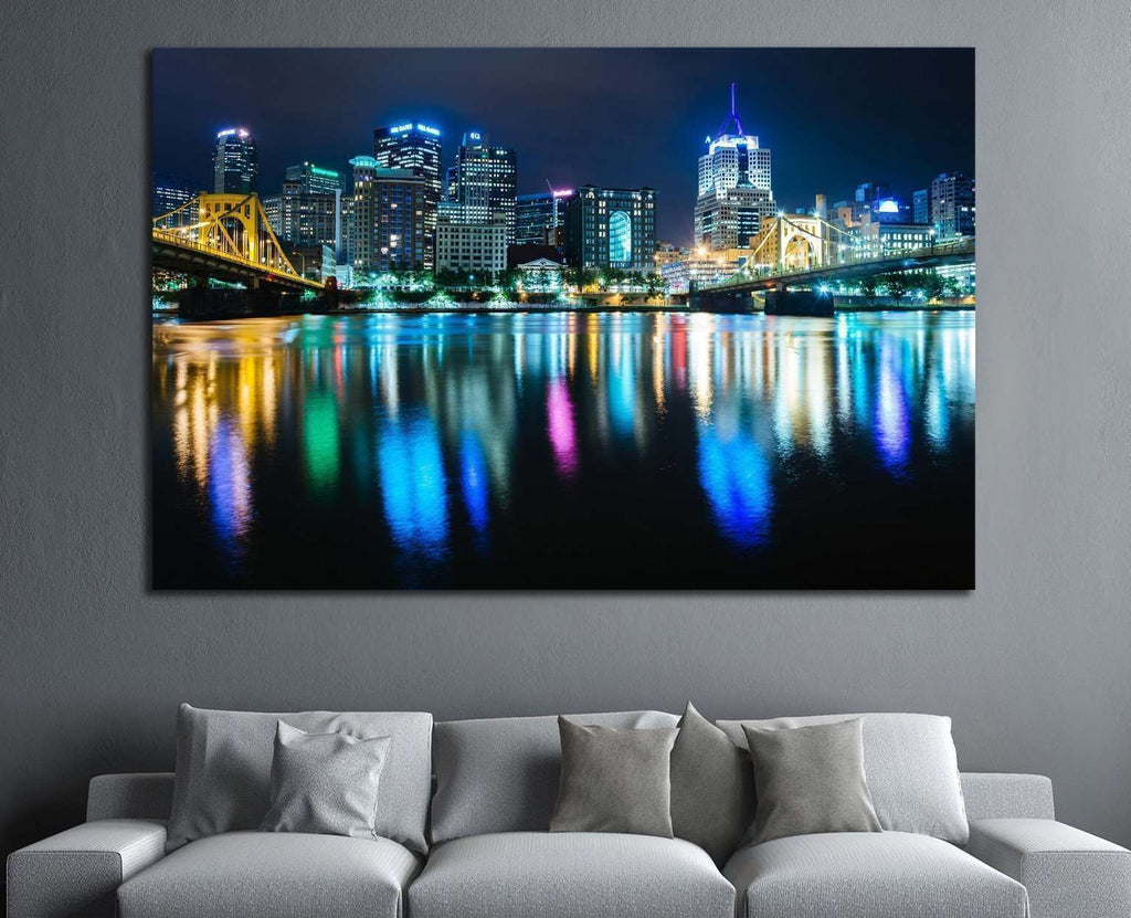 Pittsburgh skyline reflecting in the Allegheny River, Pennsylvania №1706 Ready to Hang Canvas Print
