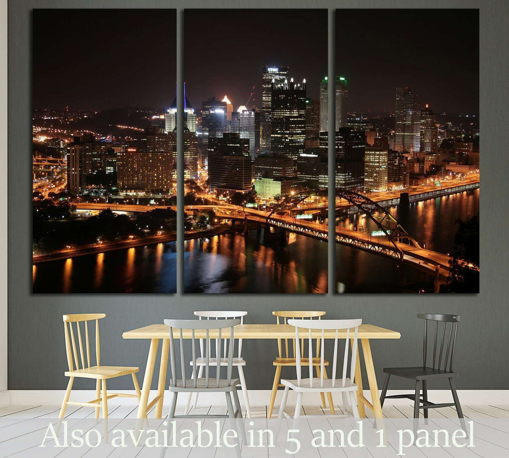 Pittsburgh's skyline from Mount Washington at night №1663 Ready to Hang Canvas Print