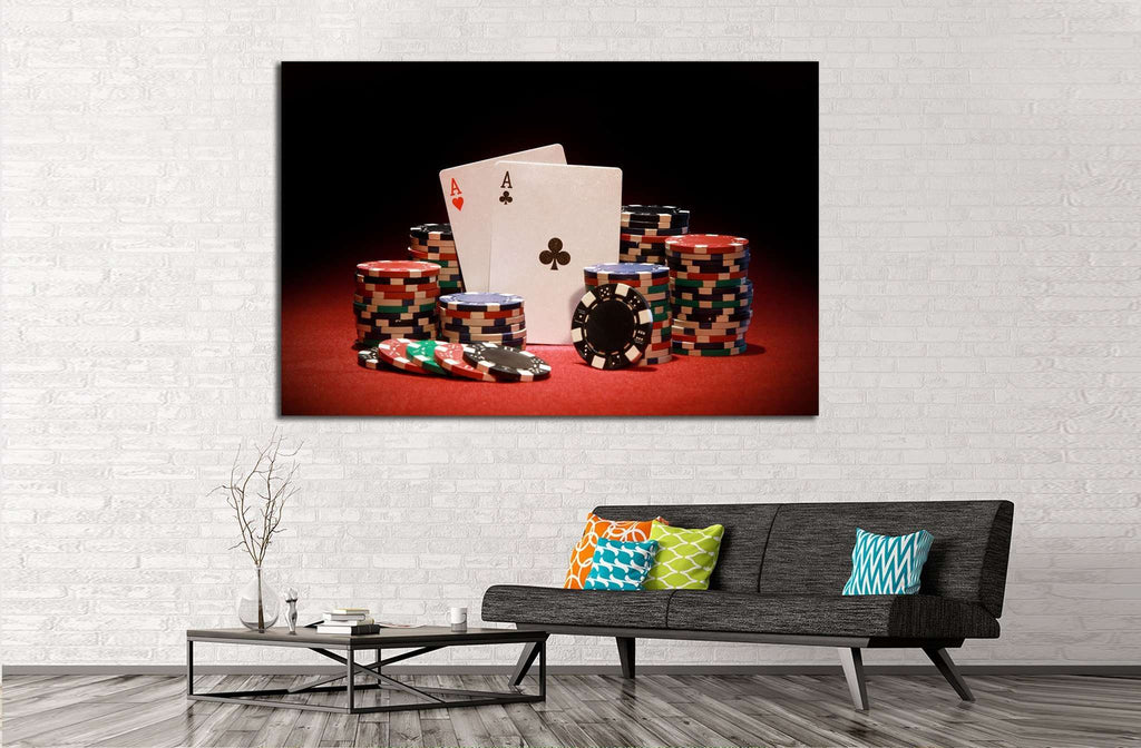 Poker chips and playing cards №543 Ready to Hang Canvas Print