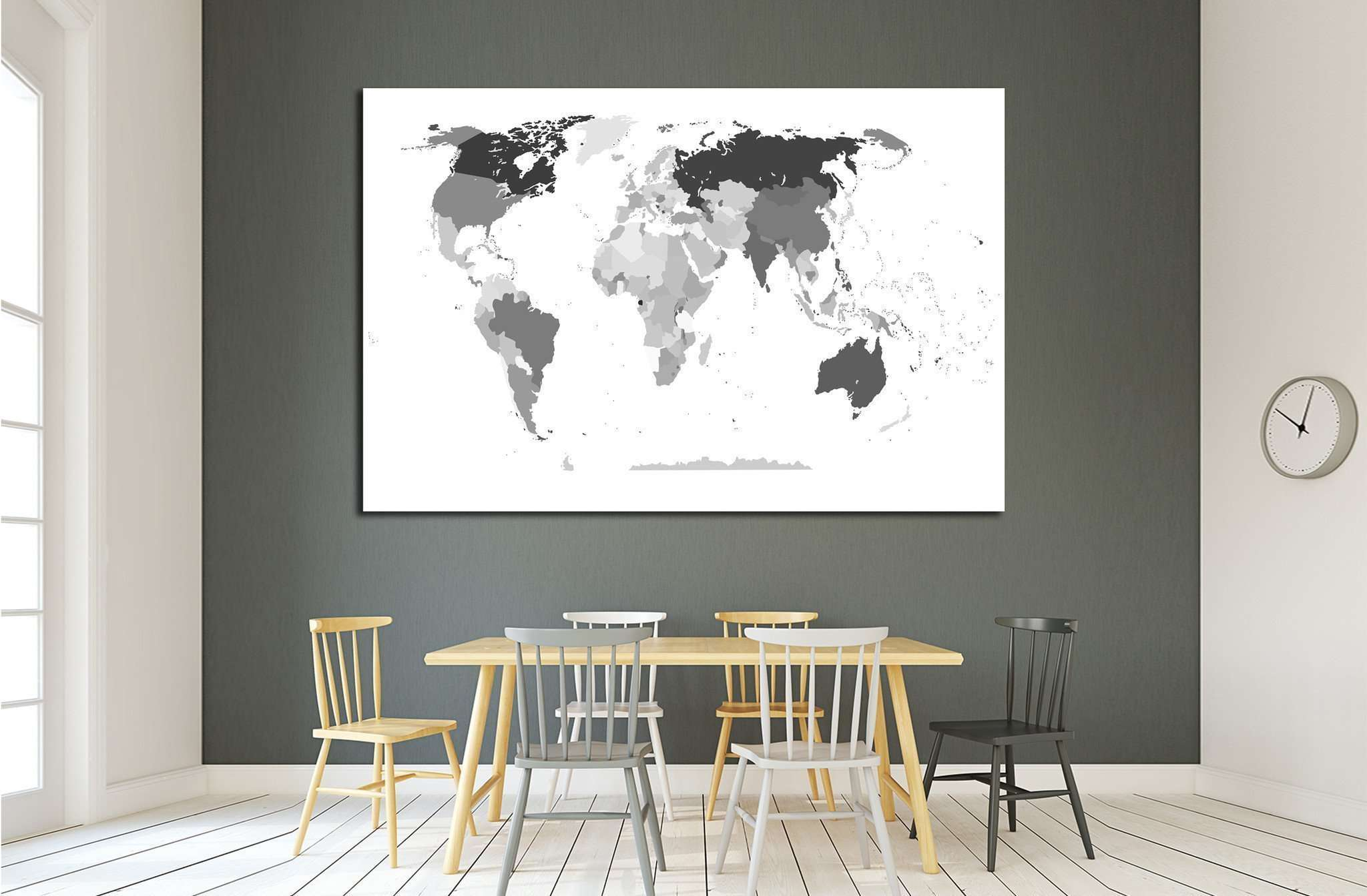 political map of the world №1928 Ready to Hang Canvas Print