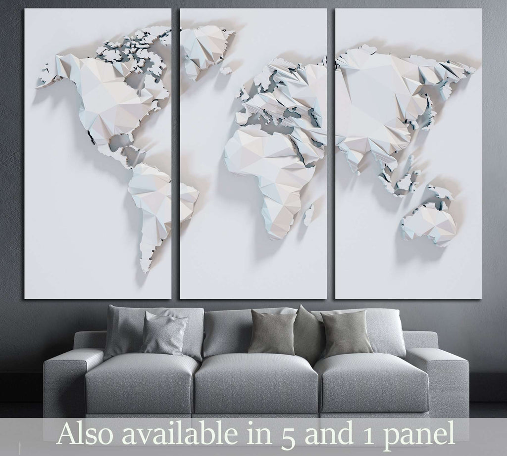 Poly Paper World Map Background D Rendering Ready To Hang - 3d world map wall art