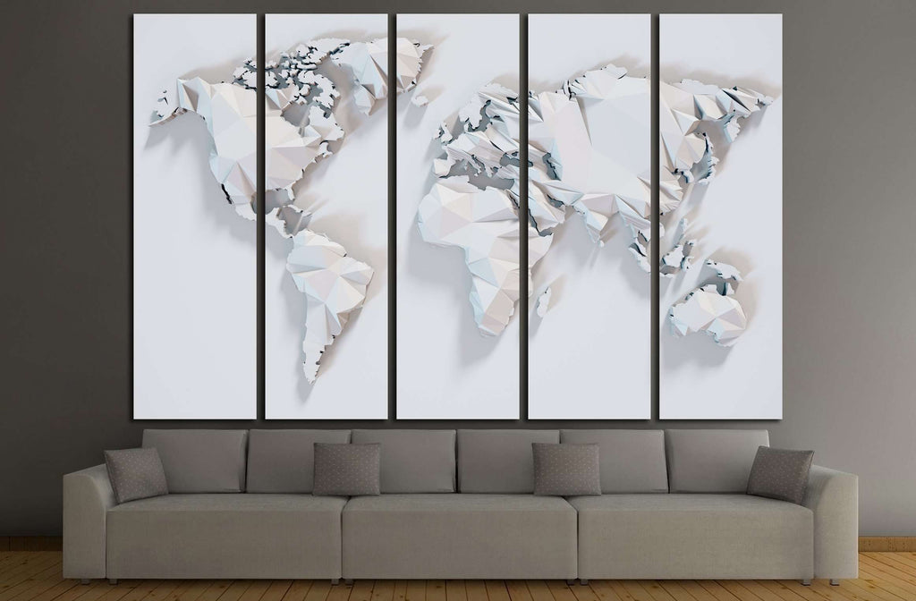 Poly paper world map background. 3D rendering №3220 Ready to Hang Canvas Print