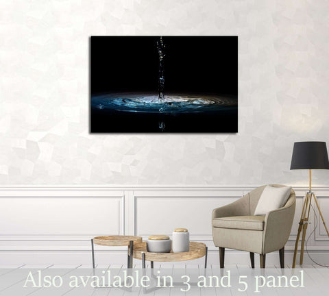 pouring of water in black background №3224 Ready to Hang Canvas Print