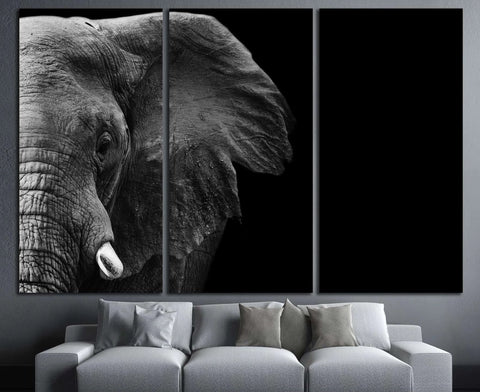 powerful image of an Elephant in black and white №3262 Ready to Hang Canvas Print