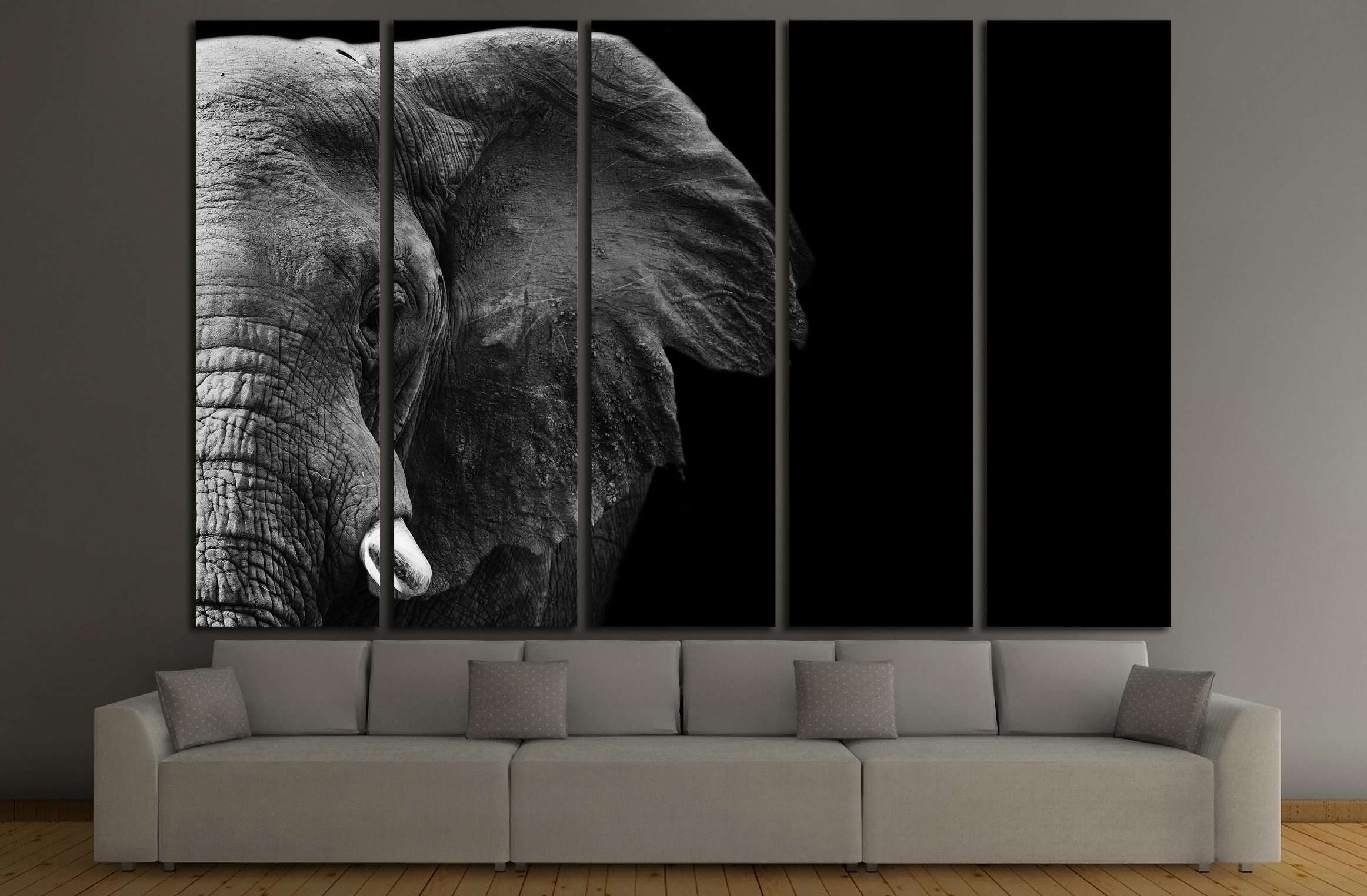 Powerful image of an elephant in black and white №3262 ready to hang c zellart