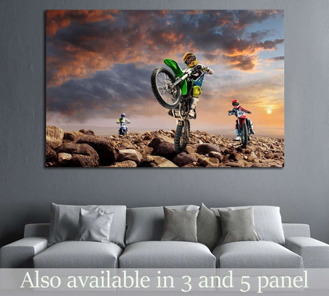 Professional dirt bike riders on top of vulcan №1890 Ready to Hang Canvas Print