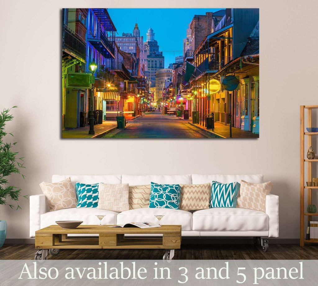 Pubs and bars with neon lights in the French Quarter, New Orleans USA №2098 Ready to Hang Canvas Print