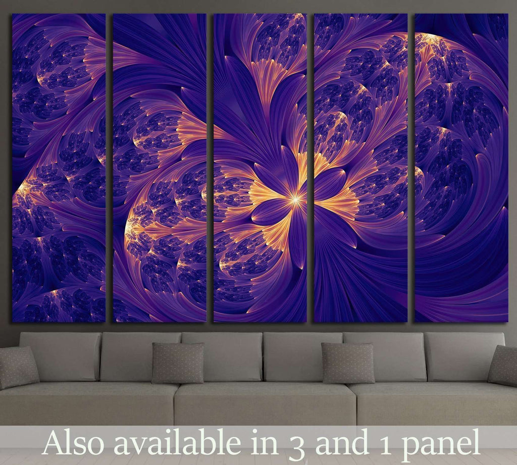 purple abstract flower psychedelic background №1419 Ready to Hang Canvas Print
