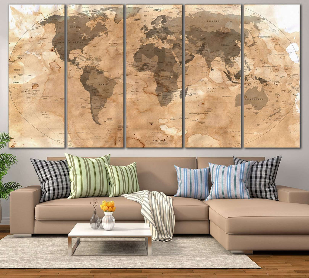 Rustic World Map №800 Ready to Hang Canvas Print