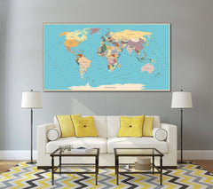 Push Pin World Map №807 Canvas Print