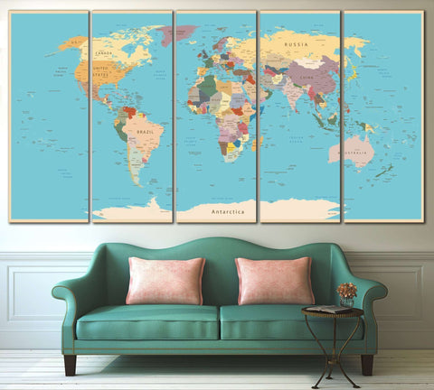 Push Pin World Map №807 Framed Canvas Print