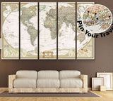 Push Pin World Map №866 Ready to Hang Canvas Print