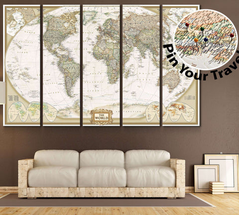 Push Pin World Map №866 Framed Canvas Print
