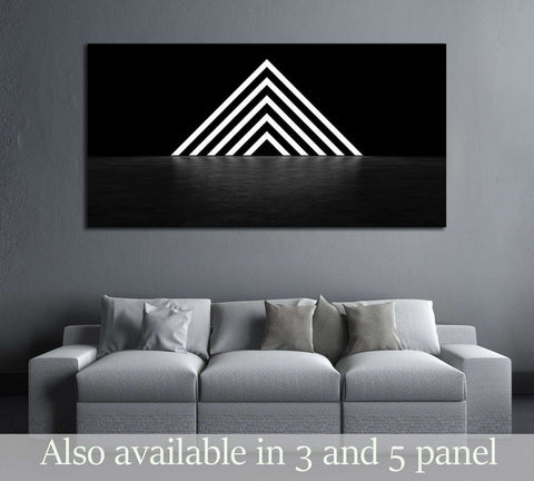 Pyramid consisting of glowing stripes. 3D Render №2890 Ready to Hang Canvas Print
