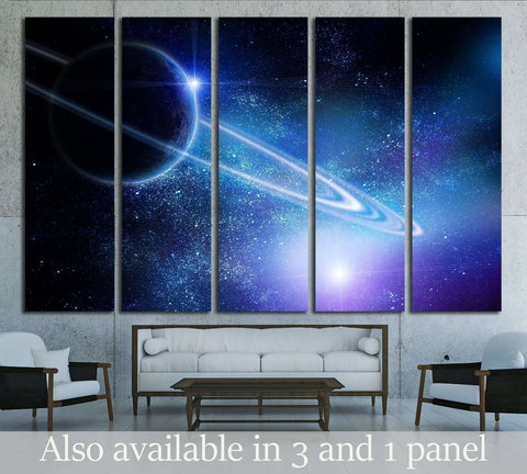 realistic saturn in open space №2460 Ready to Hang Canvas Print