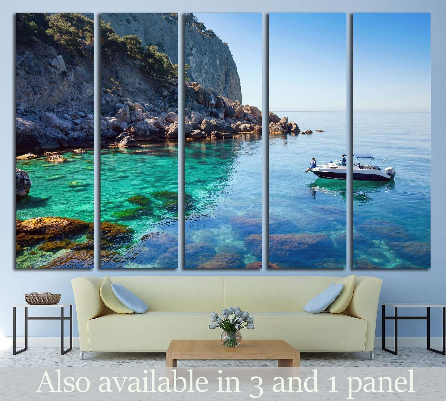 Recreation on the boat near the shore of a beautiful mountain №1409 Ready to Hang Canvas Print