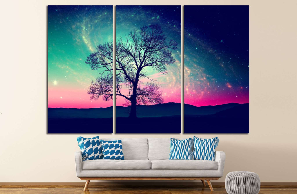 red alien landscape with alone tree over the night sky with many stars №1307 Ready to Hang Canvas Print