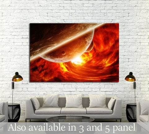 Red black hole sucking up the planet Earth 'elements of this image furnished by NASA №2453 Ready to Hang Canvas Print
