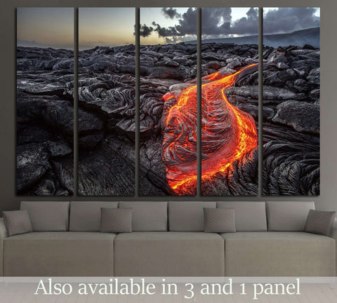 Red Orange vibrant Molten Lava flowing onto grey lavafield. Hawaii №2907 Ready to Hang Canvas Print
