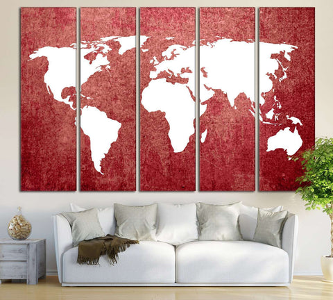 Red World Map №709 Ready to Hang Canvas Print