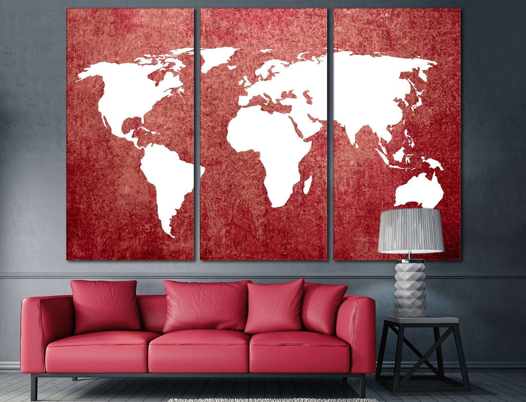 Red World Map №709 Canvas Print