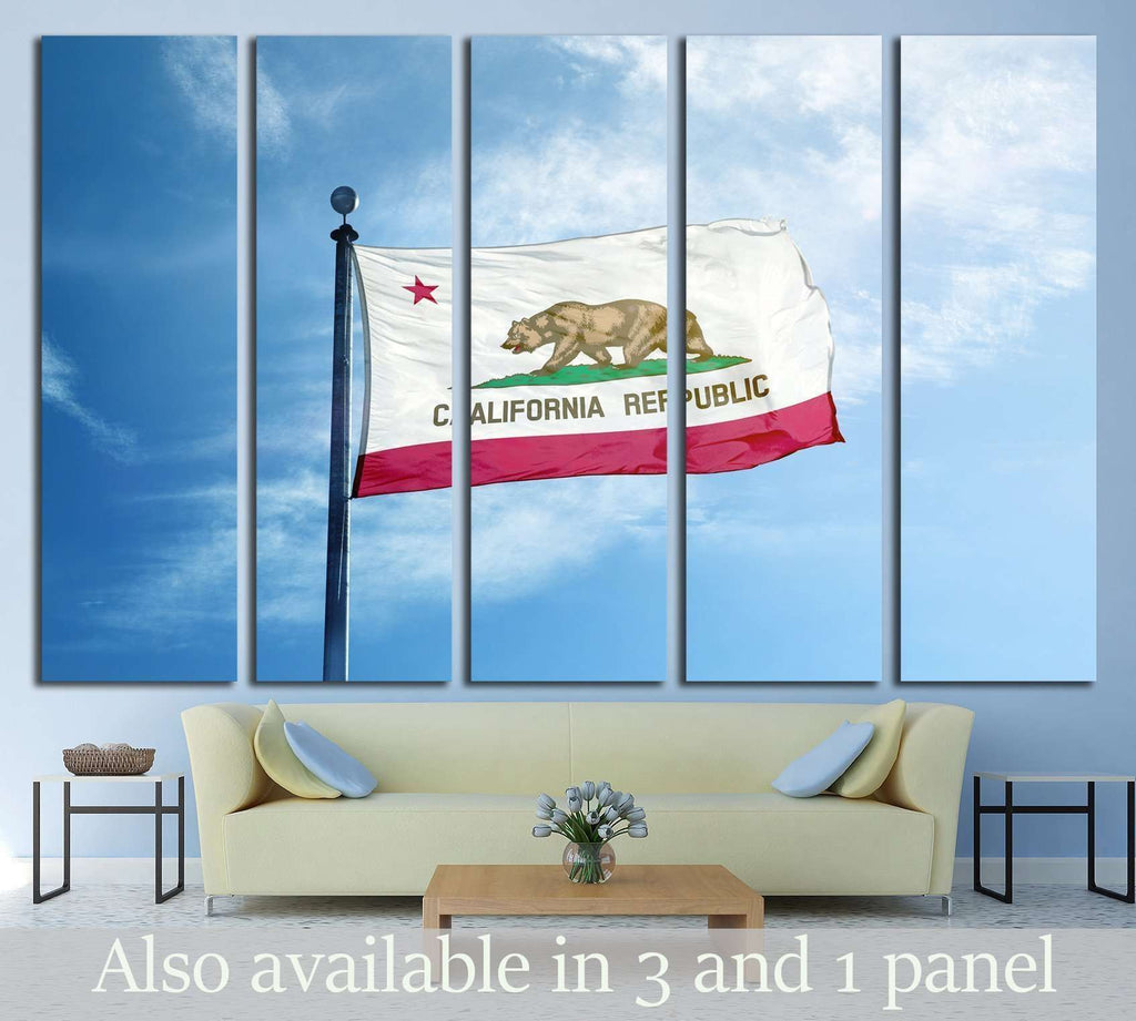 Republic California flag on the mast №1953 Ready to Hang Canvas Print