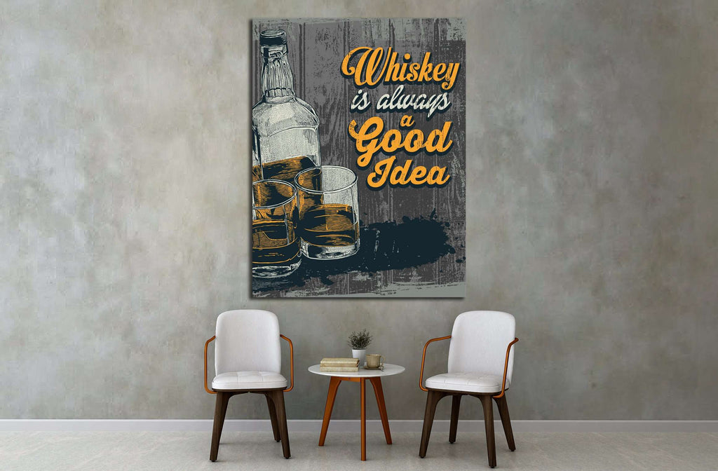 Retro design Whiskey Is Always A Good Idea with whiskey in two glasses and bottle №4574 Ready to Hang Canvas Print