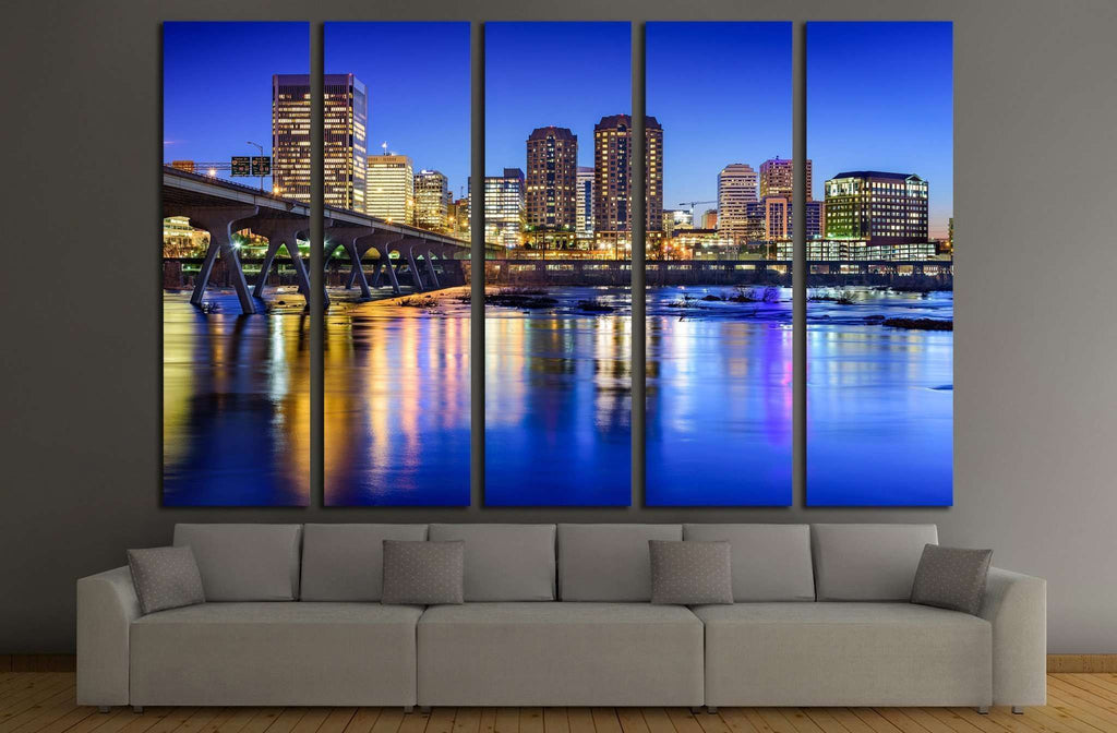 Richmond, Virginia, USA downtown skyline on the James River №2028 Ready to Hang Canvas Print