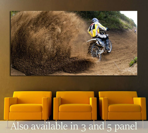 Rider driving in the motocross race №2482 Ready to Hang Canvas Print