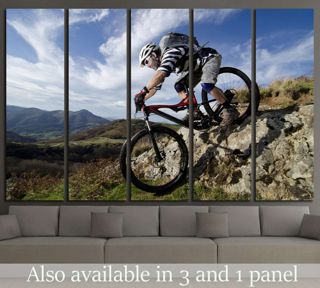 Rider in action at Freestyle Mountain Bike №1374 Ready to Hang Canvas Print
