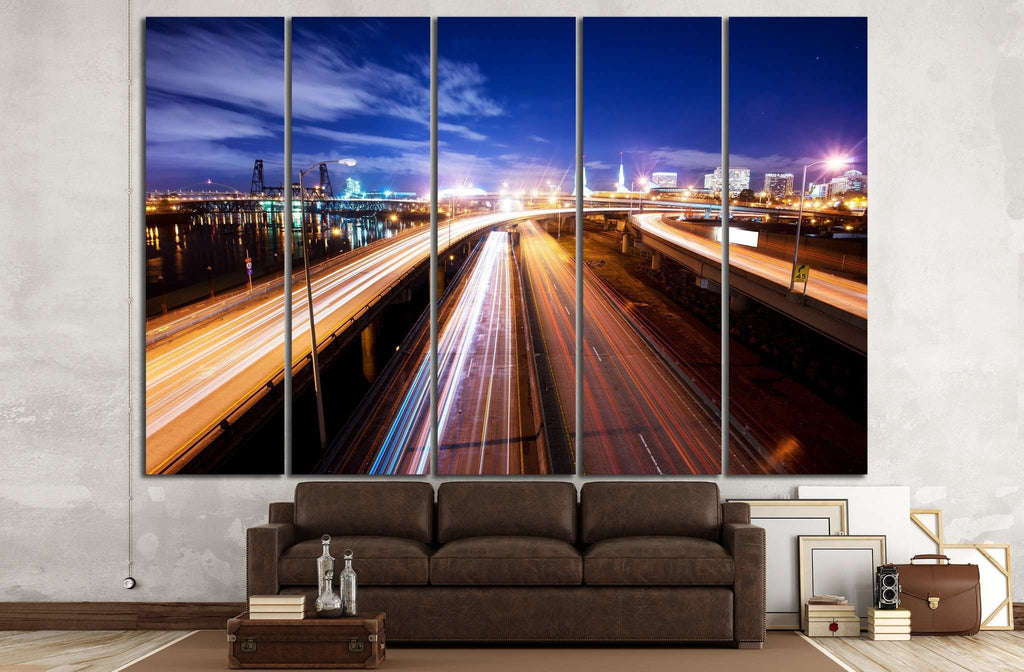 Road at night in portland №807 Ready to Hang Canvas Print