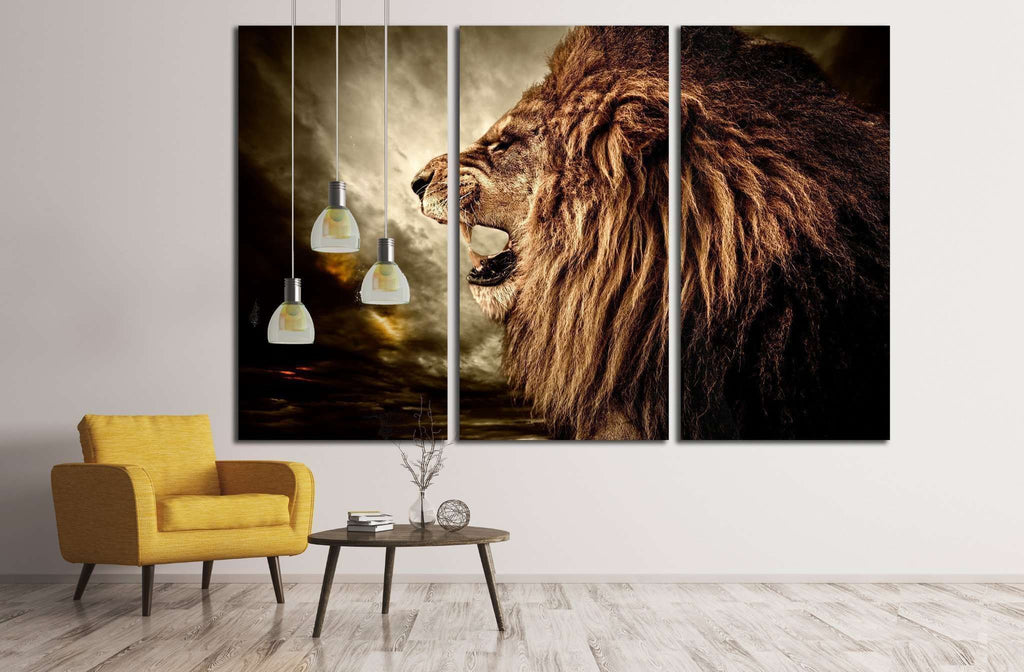 Roaring lion against stormy sky №1844 Ready to Hang Canvas Print