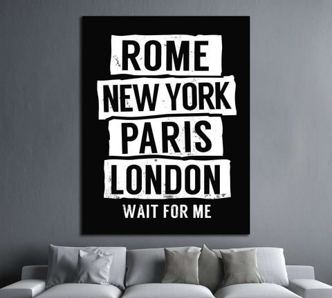 Rome, New York, Paris, London №4535 Ready to Hang Canvas Print