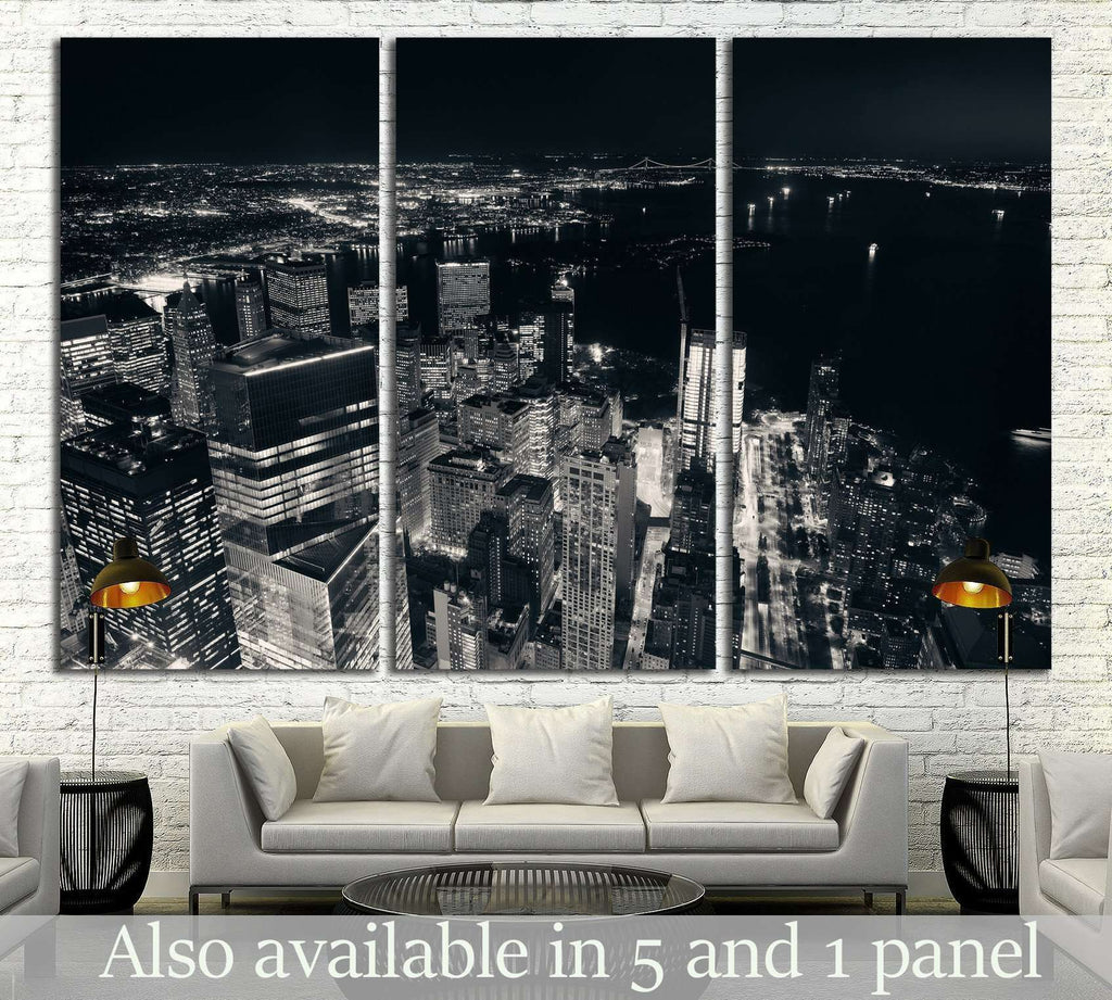 Rooftop night view of New York City downtown №1369 Ready to Hang Canvas Print