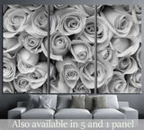rose flower bouquet, black and white №1344 Ready to Hang Canvas Print