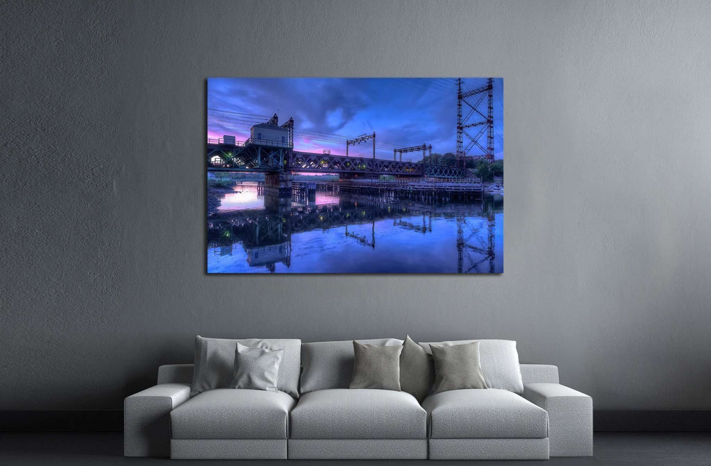 Rusty train bridge going over the harbor under a pink sunset №2062 Ready to Hang Canvas Print
