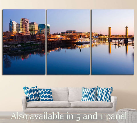 Sacramento skyline at night №1619 Ready to Hang Canvas Print