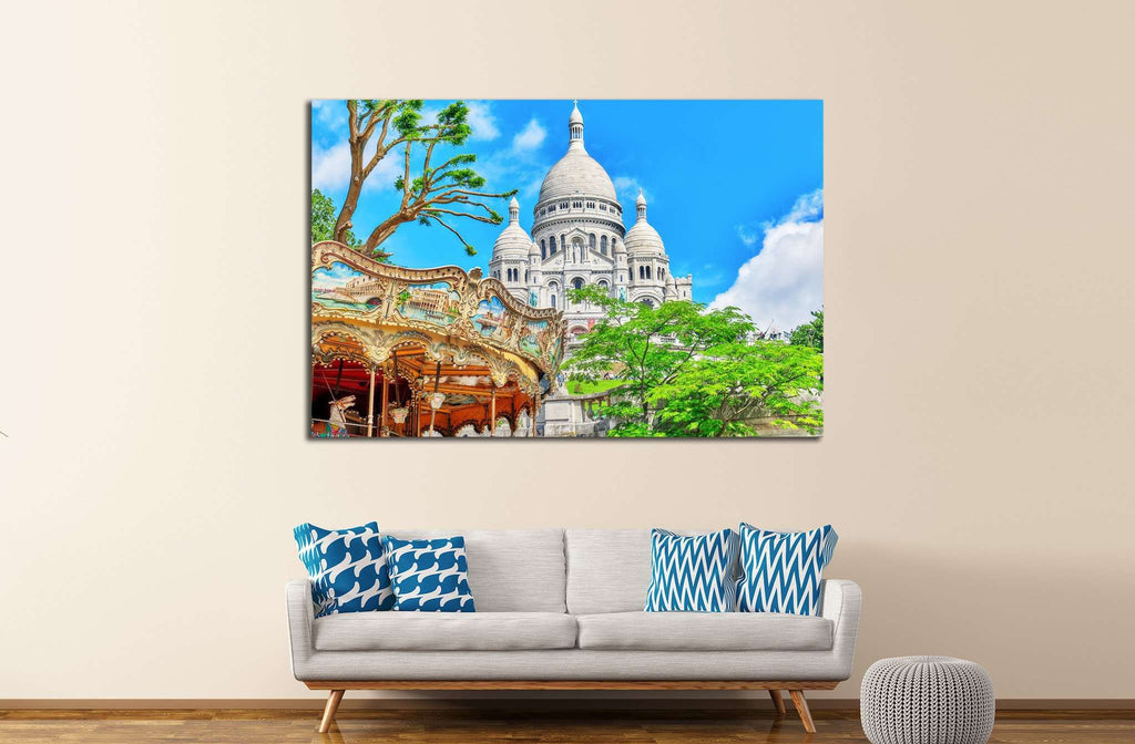 Sacre Coeur Cathedral on Montmartre Hill, Paris, France №1246 Ready to Hang Canvas Print