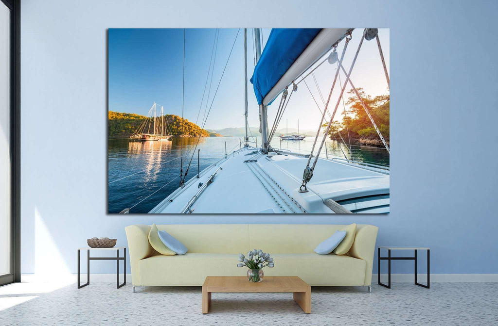 Sailing boats anchored in calm bay. Aegean Sea, Turkey №1412 Ready to Hang Canvas Print
