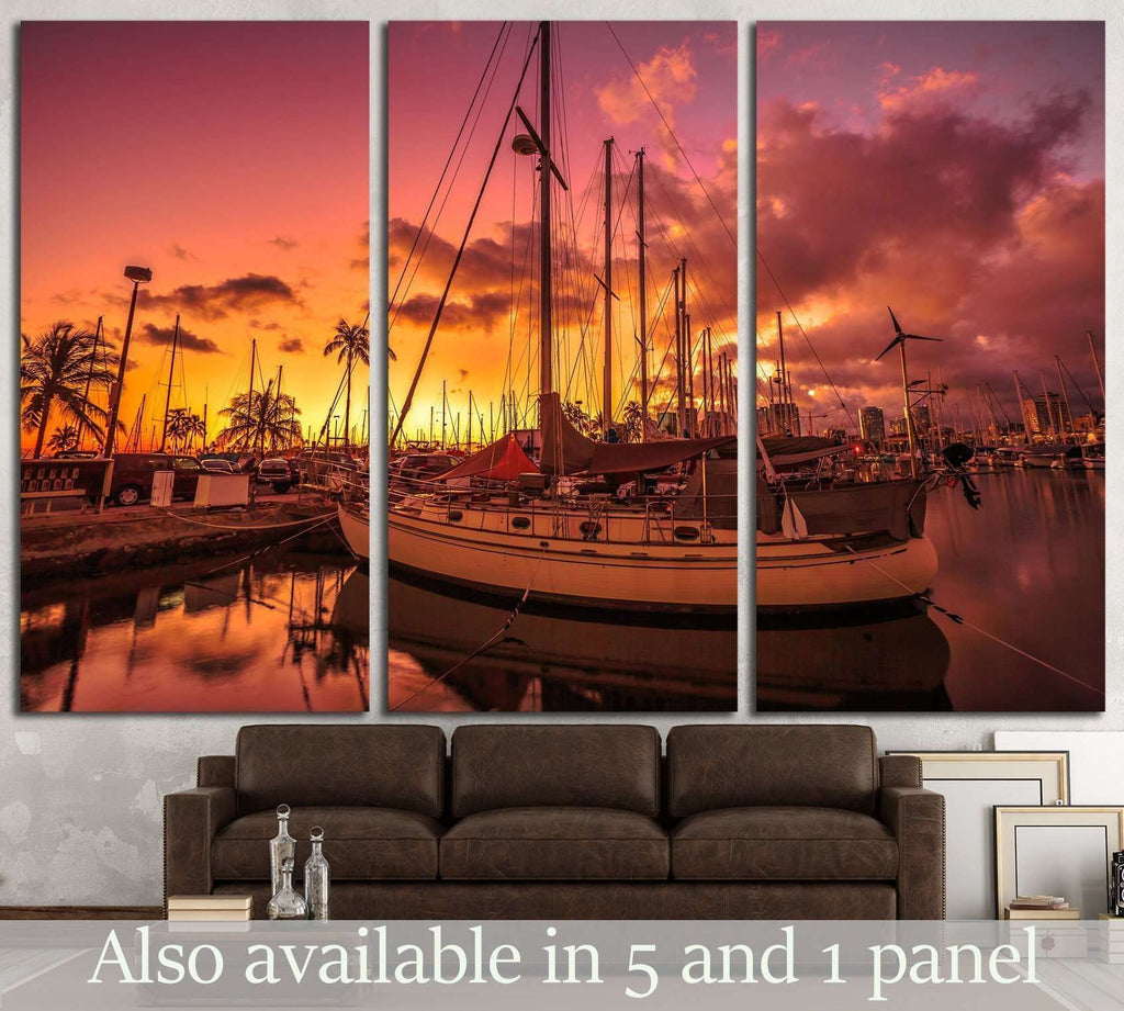 sailing boats docked at the Ala Wai Harbor, Oahu, Hawaii №1907 Ready to Hang Canvas Print