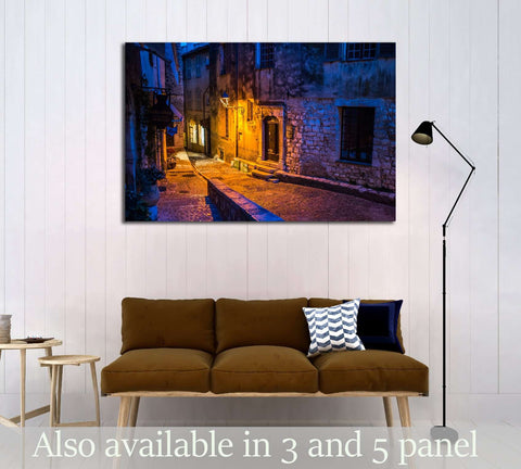Saint Paul de Vence in the night, France №2737 Ready to Hang Canvas Print